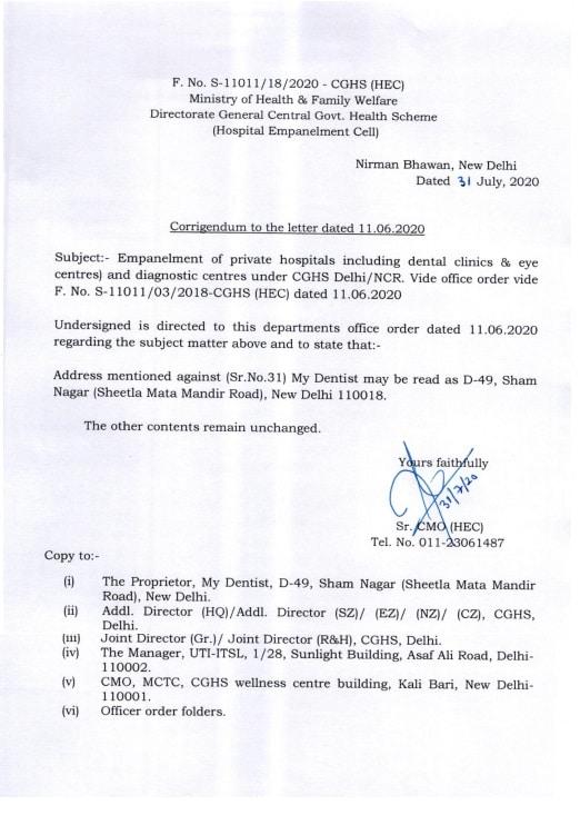 CGHS Empanelment of private hospitals and diagnostic centres under CGHS Delhi-NCR (My Dentist)-31 July 2020: Corrigendum