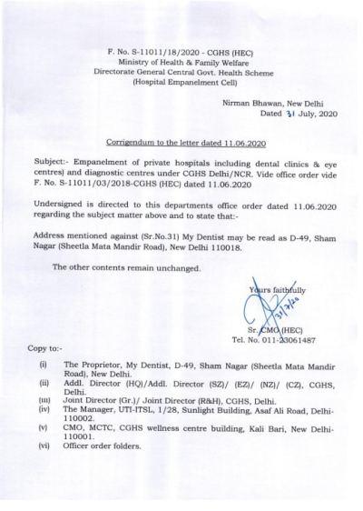 cghs-empanelment-of-private-hospitals-and-diagnostic-centres-under-cghs-delhi-ncr-my-dentist-31-july-2020-corrigendum