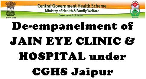 CGHS Jaipur: De-empanelment of Jain Eye Clinic and Hospital