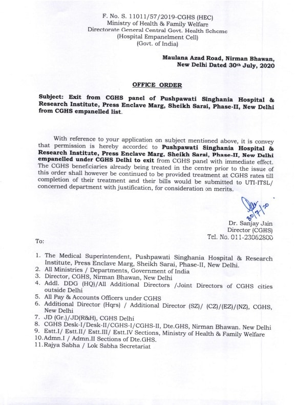 De-empanelment of Pushpawati Singhania Hospital and Research Institute, New Delhi from CGHS (30 July 2020)