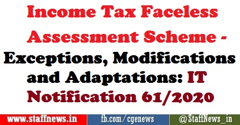 Income Tax Return Faceless Assessment Scheme – Exceptions, Modifications and Adaptations: IT Notification 61/2020