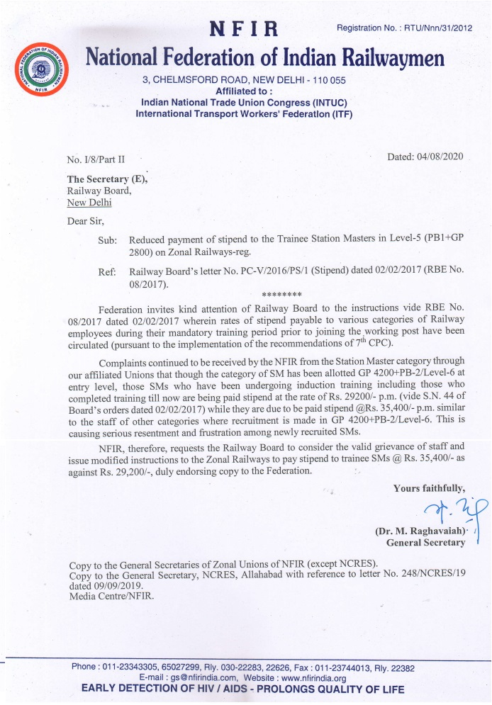 Payment of stipend to the Trainee Station Masters in Level-5 (PB1+GP 2800) on Zonal Railways