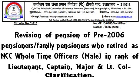 PCDA Circular C-210 Revision of pension of Pre‐2006 Pensioners/family pensioners who retired as NCC Whole Time Officers (Male) in rank of lieutenant, Captain, Major & Lt. Col