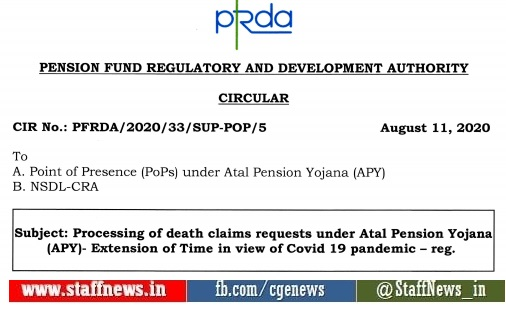 Processing of death claims requests under Atal Pension Yojana (APY) – Extension of Time in view of Covid 19 pandemic: PFRDA Circular
