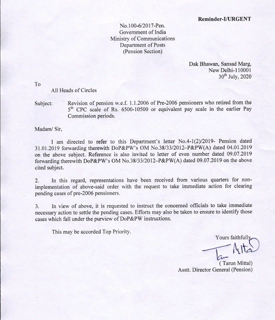 Revision of pension w.e.f. 1.1.2006 of Pre-2006 pensioners who retired from the 5th CPC scale of Rs. 6500-10500/- DoP O.M