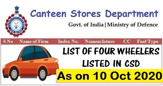 List of Four Wheelers Listed in CSD as on 10 Oct 2020 – Company-wise Details FCA INDIA, HYUNDAI MOTORS, MAHINDRA AND MAHINDRA, MARUTI SUZUKI, RENAULT, TATA MOTORS etc.