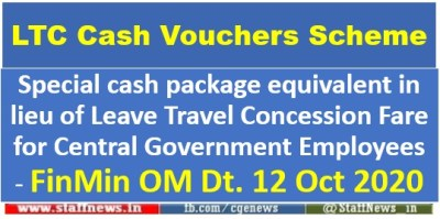 Special cash package equivalent in lieu of Leave Travel Concession Fare