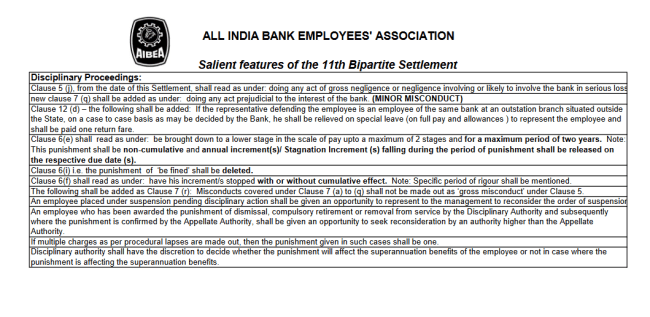 Salient features of the 11th Bipartite Settlement 3rd