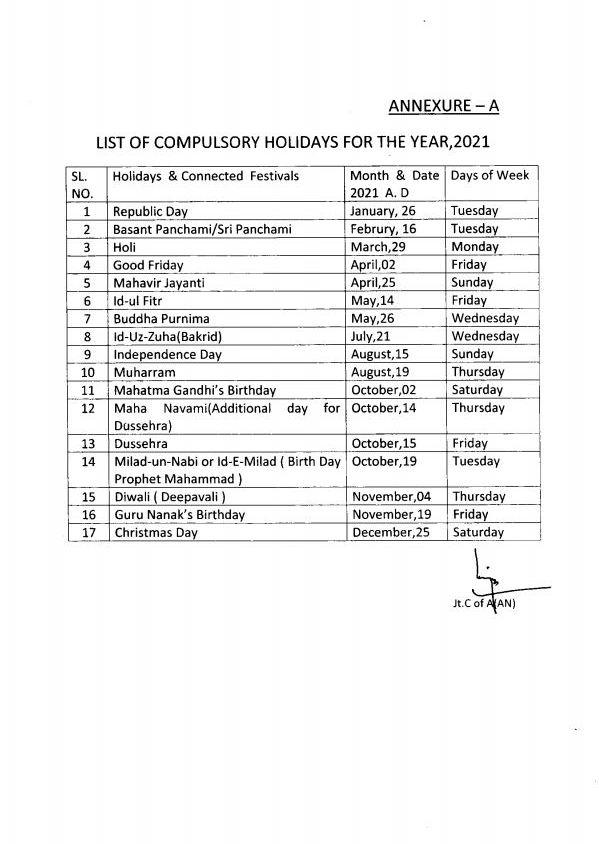 CGEWCC Kolkata – List of Compulsory & Restricted Holidays 2021: PCA (FYS)
