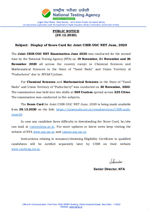 Display of Score Card for Joint CSIR-UGC NET June 2020: NTA Public Notice