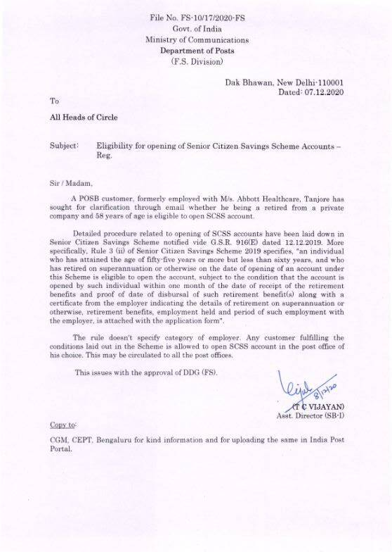 Eligibility for opening of Senior Citizen Savings Scheme Accounts: Clarification by DoP