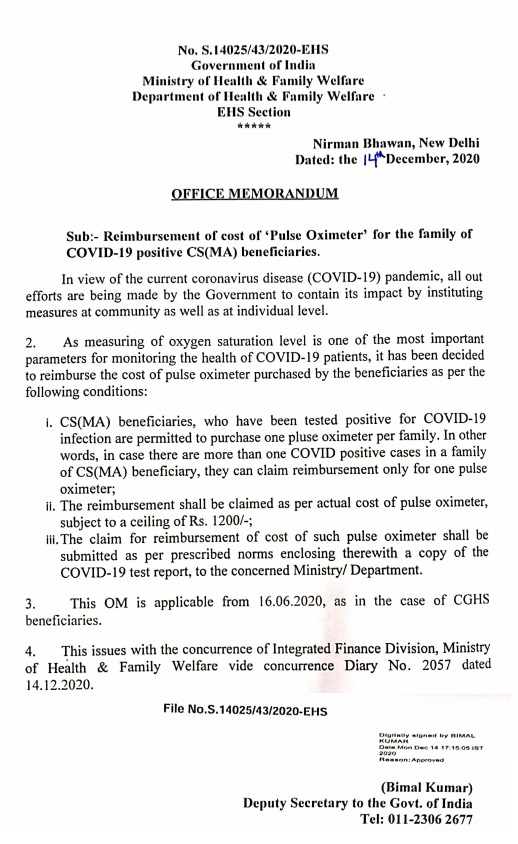 Reimbursement of cost of 'Pulse Oximeter' for the family of COVID-19 positive CS(MA) beneficiaries