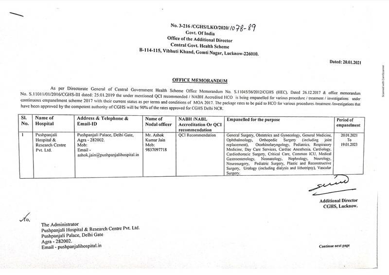 Empanelment of Pushpanjali Hospital & Research Centre Pvt. Ltd., Agra under CGHS Lucknow