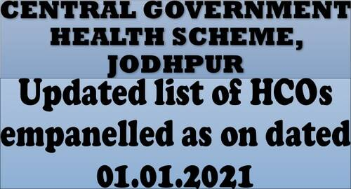 HCOs empanelled at Jodhpur under CGHS as on dated 01.01.2021