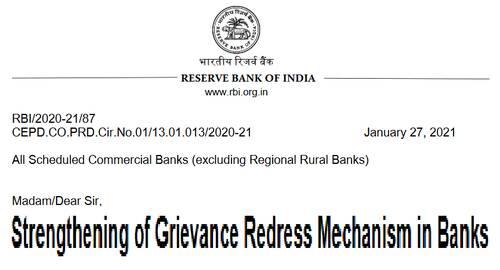 Strengthening of Grievance Redress Mechanism in Banks: RBI Circular