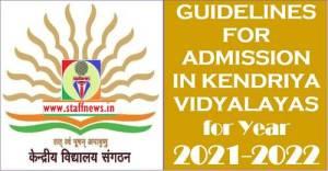 KV Admission Guidelines 2021-22