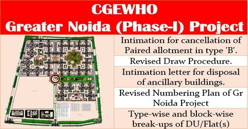 CGEWHO's Greater Noida (Phase-I) Housing Scheme – Draw of lots (Manual) for allotment of specific flat/ floor