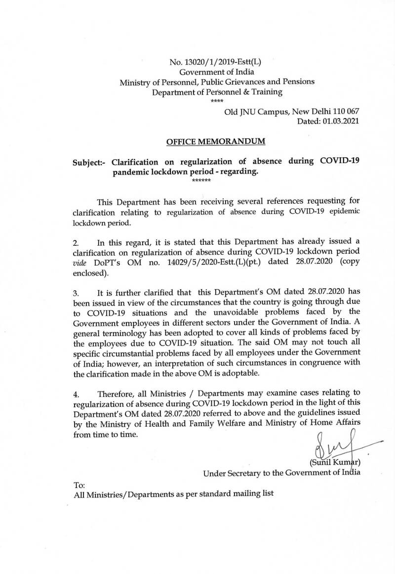 Clarification on regularization of absence during COVID-19 pandemic lockdown period: DoP&T OM dated 01.03.2021