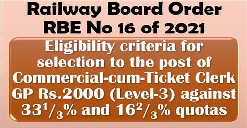 Eligibility criteria for selection to the post of Commercial-cum-Ticket Clerk GP Rs.2000:RBE No. 16/2021