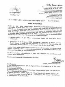 kendriya-vidyalaya-regulation-of-vacation-and-breaks-for-session-2021-22