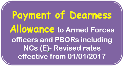 Payment of Dearness Allowance: Armed Forces officers and PBORs including NCs (E)- Revised rates