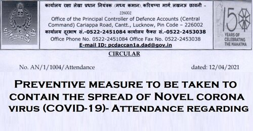 Attendance due to COVID-19: PCDA (CC) and the sub offices shall work at 50% strength in Office and 50% strength work from home