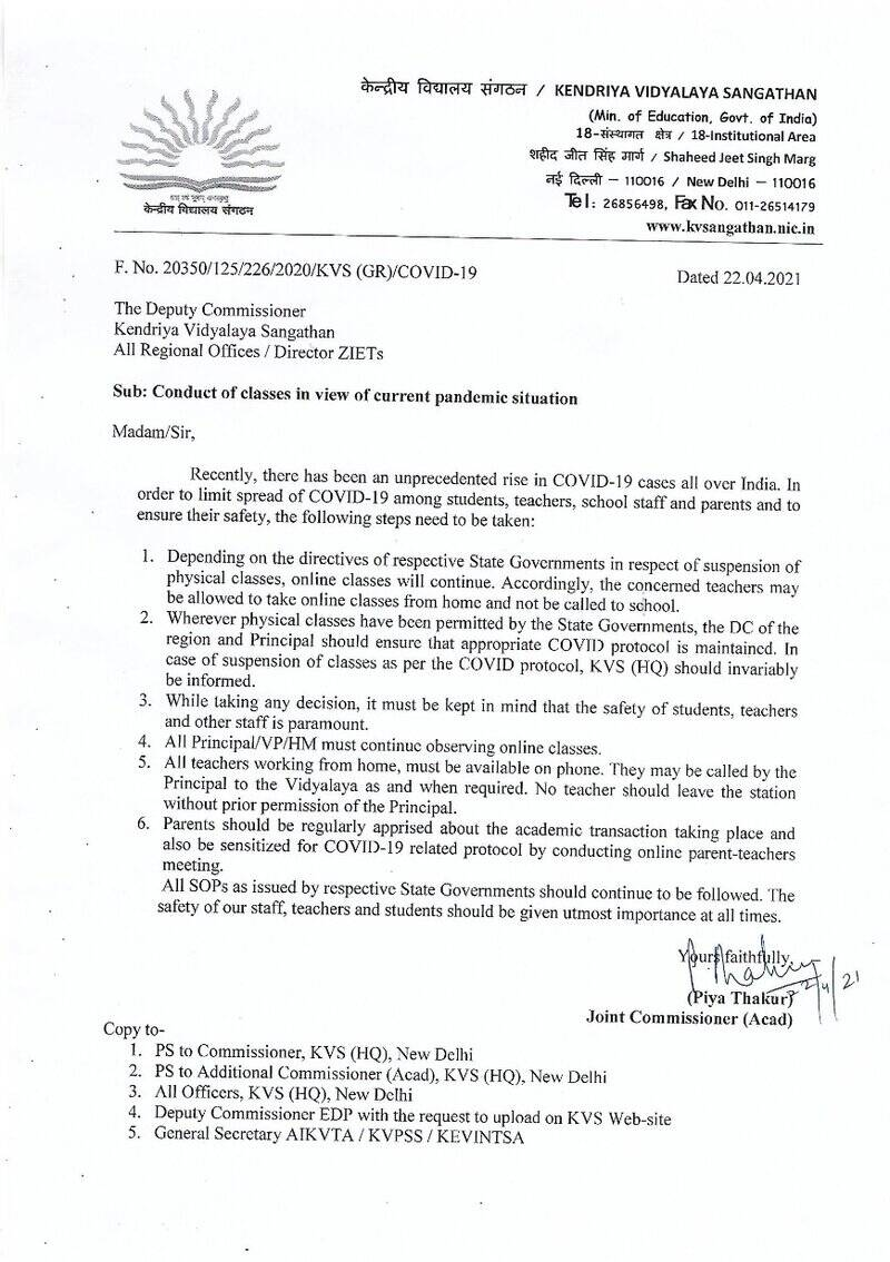 Conduct of classes in view of current pandemic situation: Kendriya Vidyalaya Sangathan Order dated 22-04-2021