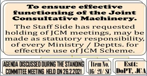 Ensure effective functioning of the Joint Consultative Machinery: JCM meetings may be made as statutory responsibility