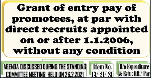 Grant of entry pay of promotees, at par with direct recruits appointed on or after 1.1.2006, without any condition