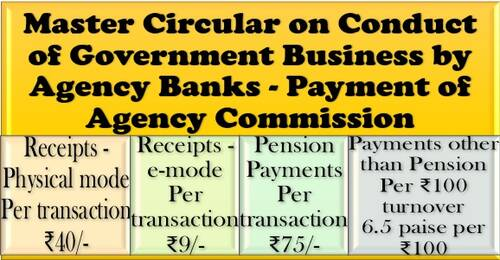 Master Circular on Conduct of Government Business by Agency Banks – Payment of Agency Commission: RBI Circular