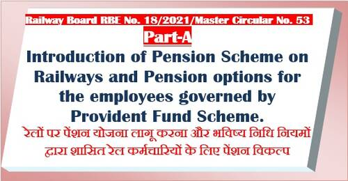 Pension Scheme on Railways and Pension options for the employees governed by Provident Fund Scheme – Part A – Master Circular