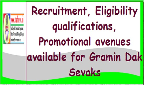 Recruitment, Eligibility qualifications, Promotional avenues available for Gramin Dak Sevaks