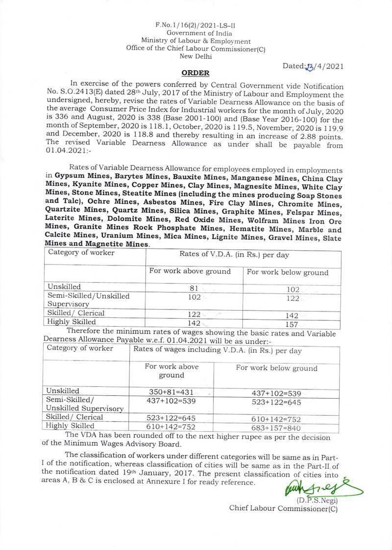 Revised VDA Minimum Wages for Mines Workers w.e.f 1st Apr 2021: Labour Bureau Order Dt 23 Apr 2021