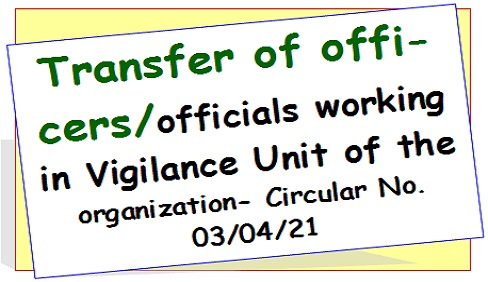 Transfer of officers/officials working in the Vigilance Unit: Railway Board Order