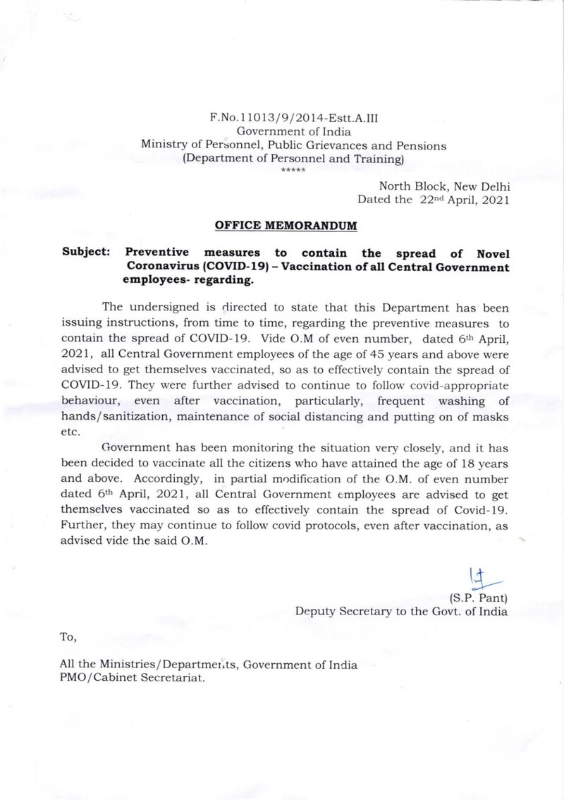 Vaccination of all Central Government employees who have attained the age of 18 years and above: DoP&T OM dated 22.04.2021