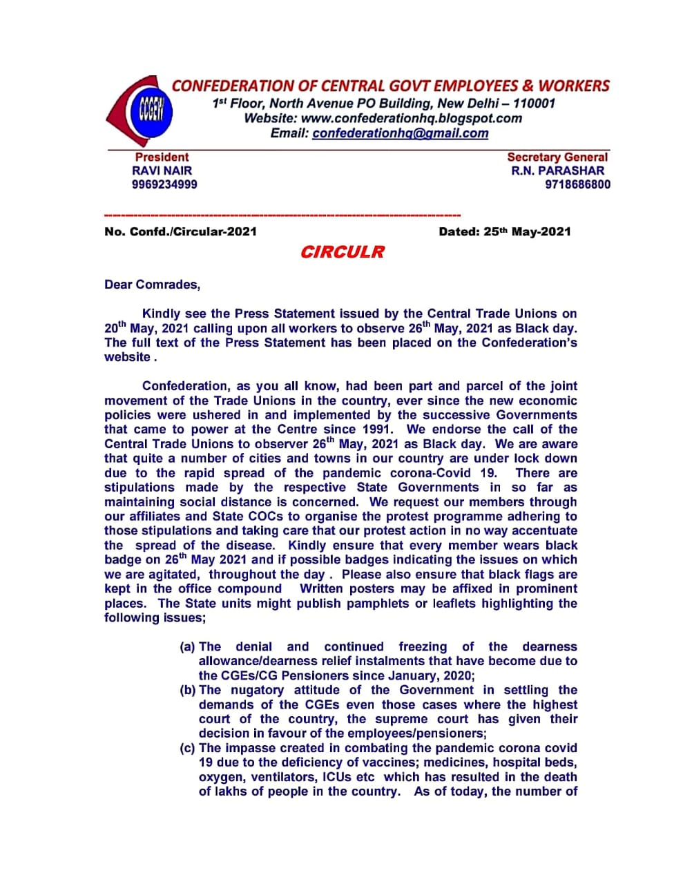 Denial and continued freezing of the DA/DR and other issues: CG Confederation endorse the call of CTU to observe Black Day on 26.05.2021