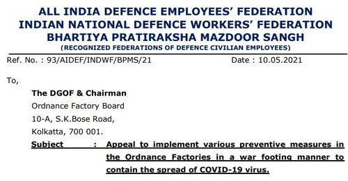 Appeal to implement various preventive measures in the Ordnance Factories to contain the spread of COVID-19: AIDEF, INDWF, BPMS