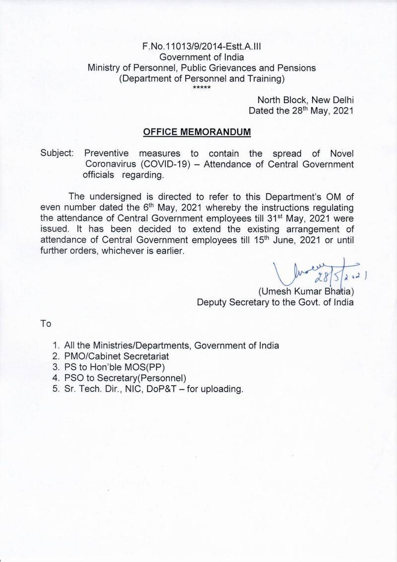 Attendance of Central Government officials: DoPT OM dated 28.05.2021 reg Preventive measures to contain the spread of Novel Coronavirus