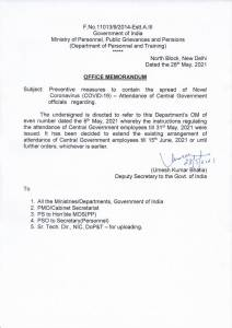 attendance-of-central-government-officials-dopt-om-dated-28-05-2021