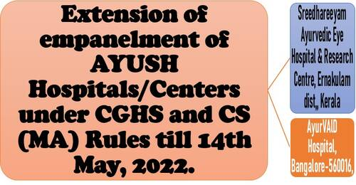 Extension of empanelment of AYUSH Hospital/Centers under CGHS and CS(MA) Rules till 14th May, 2022