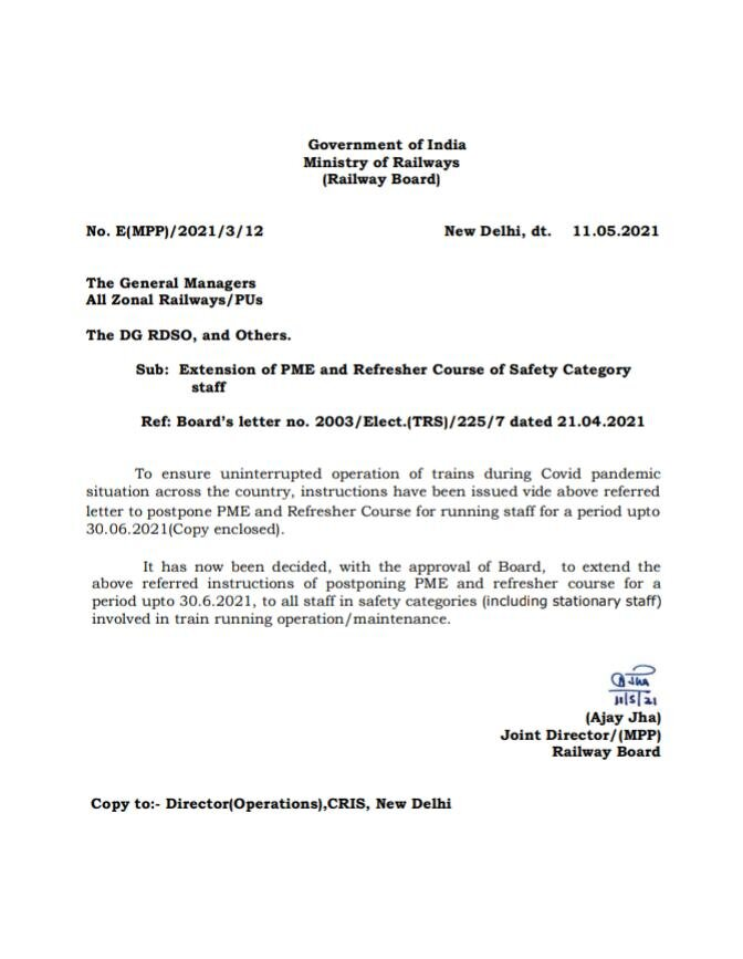 Extension of PME and Refresher Course of Safety Category staff: Railway Board Order