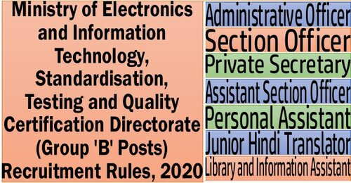 Ministry of Electronics and Information Technology, Standardisation, Testing and Quality Certification Directorate (Group 'B' Posts) Recruitment Rules, 2020