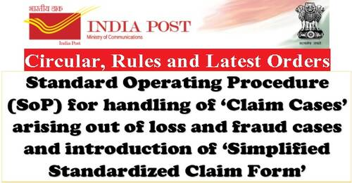 Simplified Standardized Claim Form for loss and fraud cases in PoSB Accounts, Cash Certificates, Money Orders/EMOs, PLI/RPL and SoP for handling