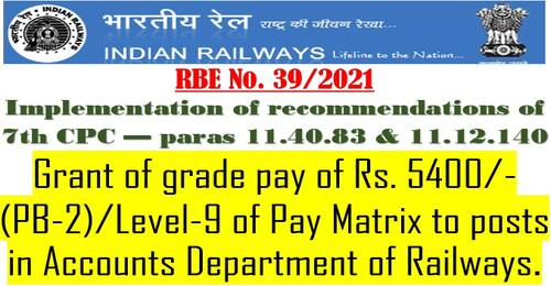 7th CPC – Level-9 of Pay Matrix to posts in Accounts Department of Railways: RBE No. 39/2021
