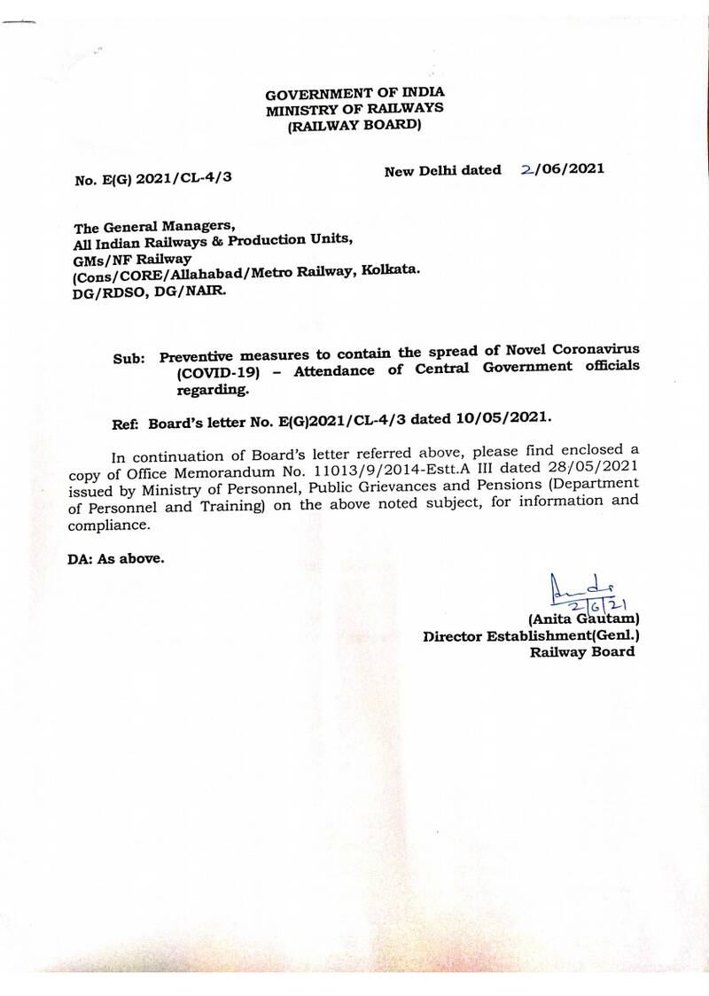 Attendance of Central Government officials to contain the spread of COVID-19: Railway Board Order