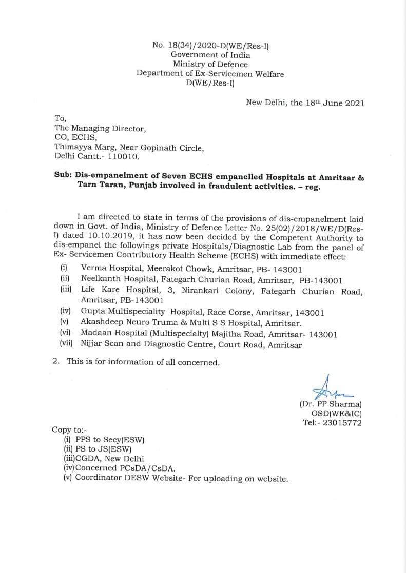 Dis-empanelment of Seven ECHS empanelled Hospitals at Amritsar & Tarn Taran, Punjab involved in fraudulent activities