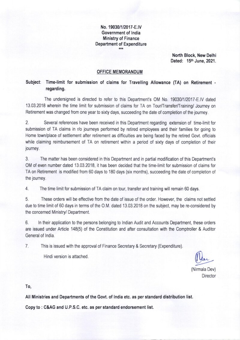 Time-limit for submission of claims for Travelling Allowance (TA) on Retirement: Fin Min OM dated 15.06.2021