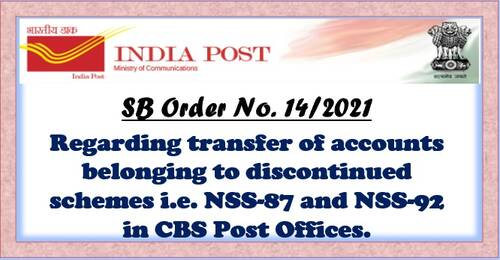 Transfer of accounts belonging to discontinued schemes in CBS Post Offices: S.B. Order No 14/2021