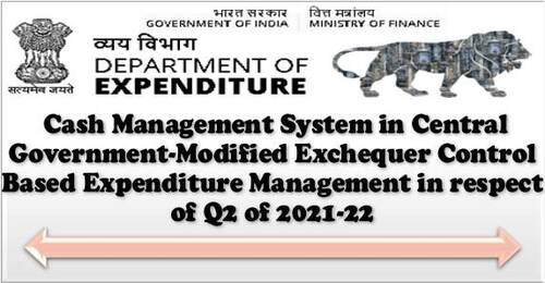 Cash Management System in Central Government-Modified Exchequer Control Based Expenditure Management in respect of Q2 of 2021-22