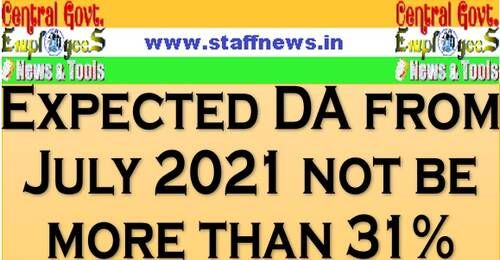 Expected DA from July 2021 not be more than 31%